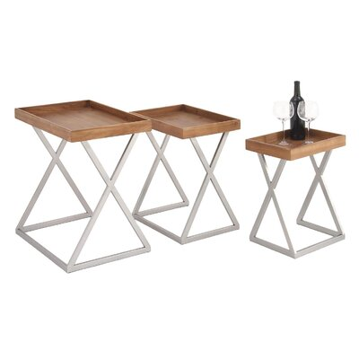 Urban Designs Rustic Wood Tray 3 Piece Nesting Tables