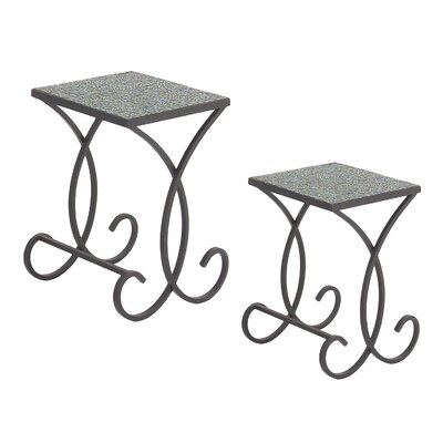 Urban Designs Emerald Square Mosaic 2 Piece Nesting Tables