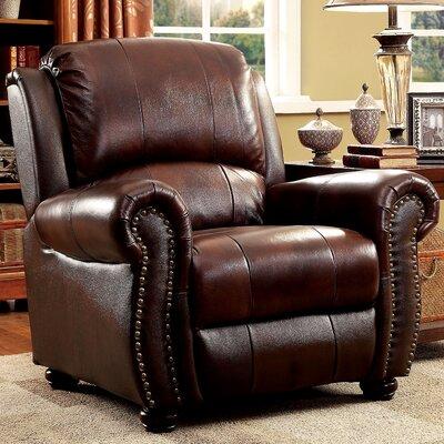 A&J Homes Studio Top Grain Leather Nailhead Arm Chair