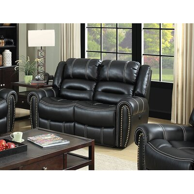 A&J Homes Studio Nailhead Leather Reclining Love..