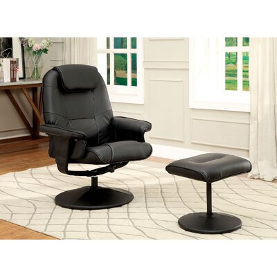 A&J Homes Studio Stanley Upholstered Swivel Recliner and Ottoman