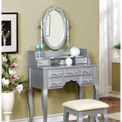 A&J Homes Studio Lisa Vanity Set with Mirror Image