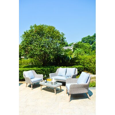 ManoPatio Weimar Outdoor Wicker Rattan 4 Piece Lounge ...