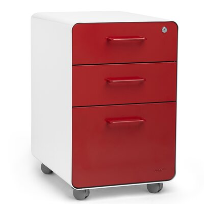 Poppin 3-Drawer Mobile Fully Loaded File Cabinet