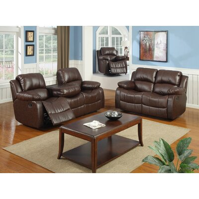 Best Quality Furniture Bonded Leather 3 Piece Recliner Living Room Set