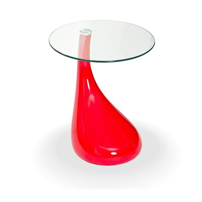 Fab Glass and Mirror Tear Drop End Table