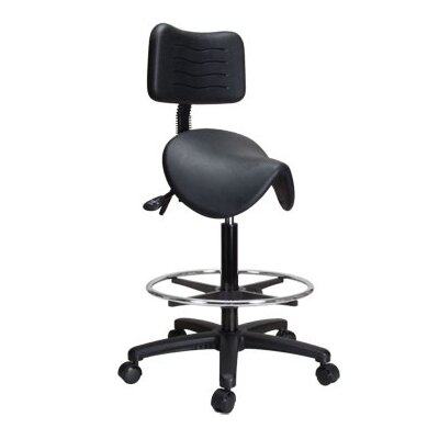 Perch Chairs & Stools Height Adjustable Saddle Stool with Back and Foot Ring