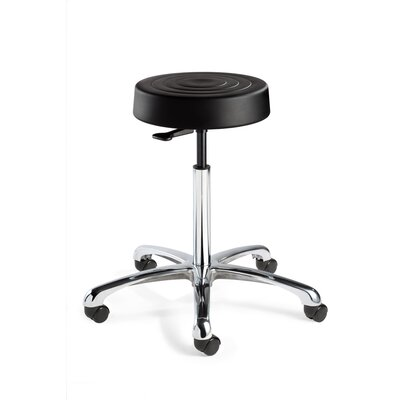 BEVCO ErgoLux Height Adjustable Backless Stool with Dual-Wheel Hard Floor Casters