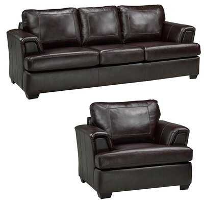 Coja Royal Cranberry Italian Leather Sofa and Chair Set