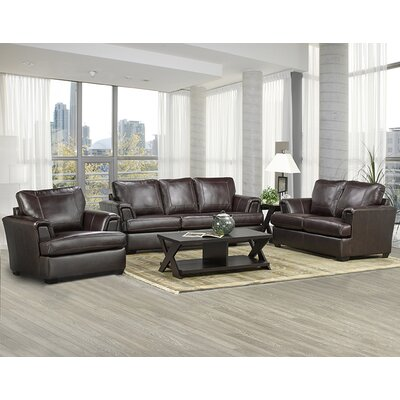 Coja Royal Cranberry Italian Leather Sofa, Loveseat and Chair Set