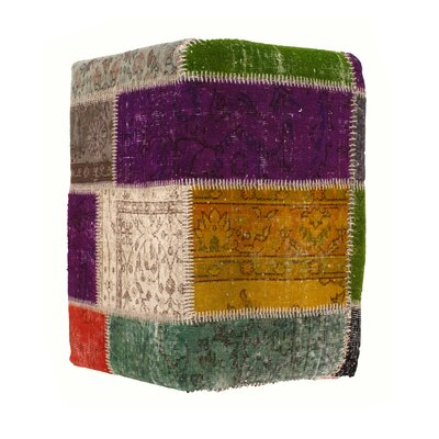 Pasargad NY Patchwork Lamb's Wool Ottoman