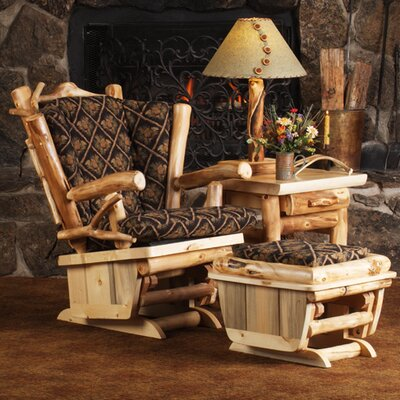 Mountain Woods Furniture Aspen Heirloom Twig Art Glider and Ottoman