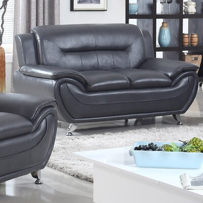PDAE Inc. Deliah Modern Living Room Faux Leather Loveseat