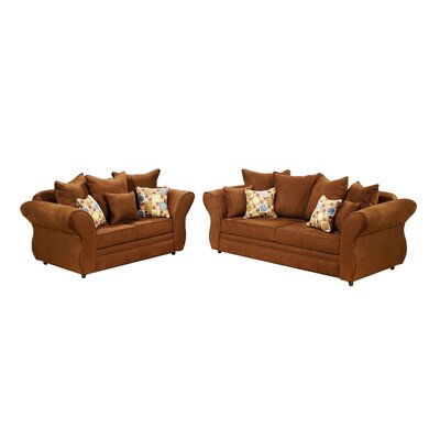 Gardena Sofa Chocolate Sofa and Loveseat Set