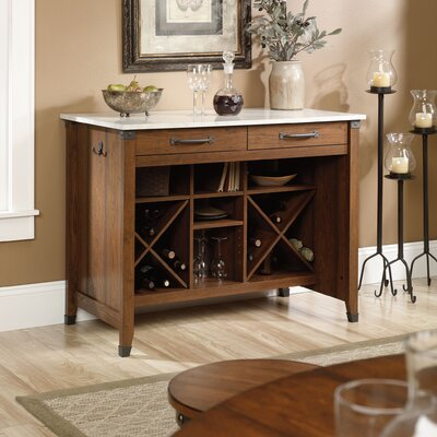Loon Peak Newdale Kitchen Island with Faux Marble Top