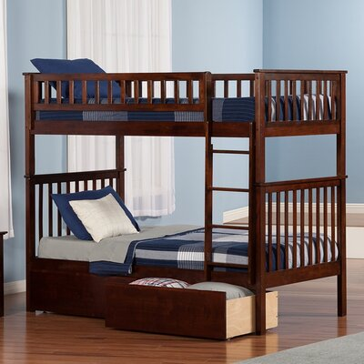 Atlantic Furniture Woodland Twin over Twin Bunk Bed with Storage