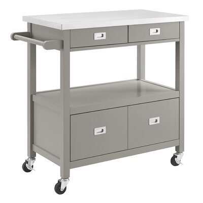 Mercury Row Aubuchon Kitchen Island with Stainless Steel Top