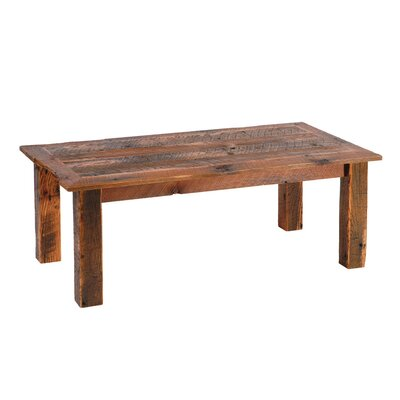 Fireside Lodge Reclaimed Barnwood Open Coffee Table with Barnwood Trim