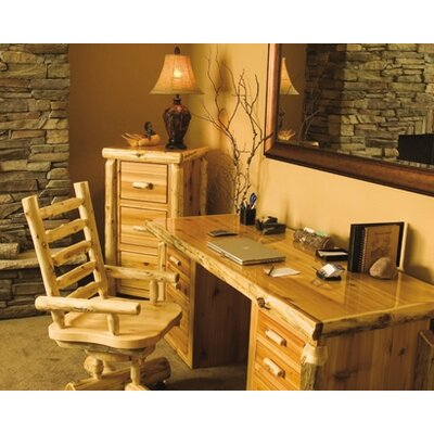 Fireside Lodge Traditional Cedar Log 3-Piece Standard Desk Office Suite