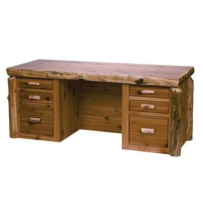 Fireside Lodge Traditional Cedar Log Executive Desk with 6 Drawers