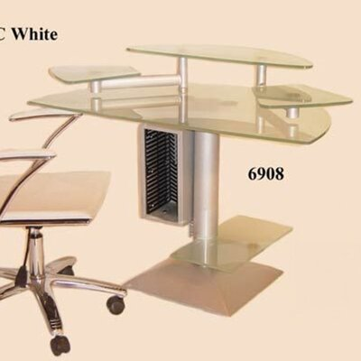 Chintaly Imports Frosted Glass Computer Desk with Swivel Arms
