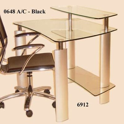 Chintaly Imports Tempered Glass Computer Desk with Metal Legs