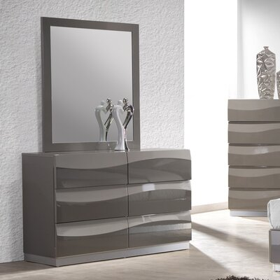 Chintaly Imports Delhi 6 Drawer Dresser with Mirror