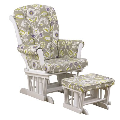 Cotton Tale Periwinkle Floral Glider with Ottoman
