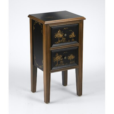 AA Importing 2 Drawer Chinoiserie End Table