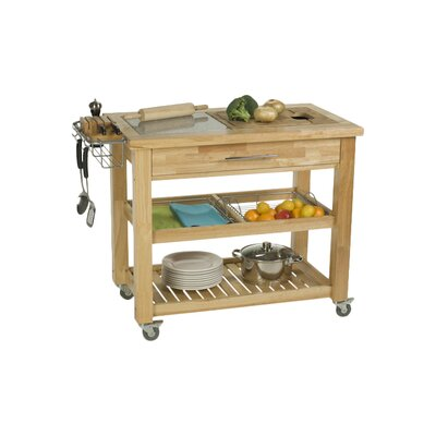 Chris & Chris Pro Chef Kitchen Island with Granite and Wood Top