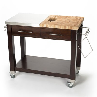 Chris & Chris Pro Chef Kitchen Island with Butcher Block Top