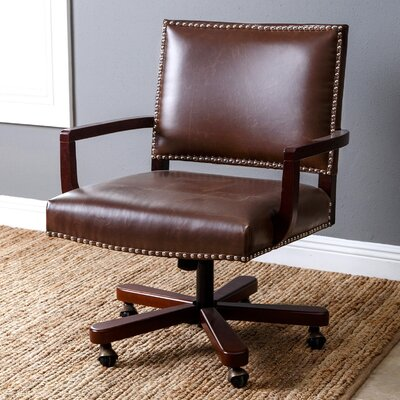 Darby Home Co Garrettsville Mid-Back Leather Desk Chair