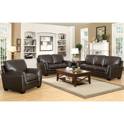 Darby Home Co Whitstran 3 Piece Top Grain Leather Living Room Set