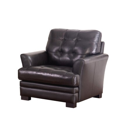 Darby Home Co Schilling Top-Grain Leather Armchair
