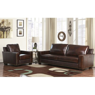 Darby Home Co William Leather Sofa and Armchair Set