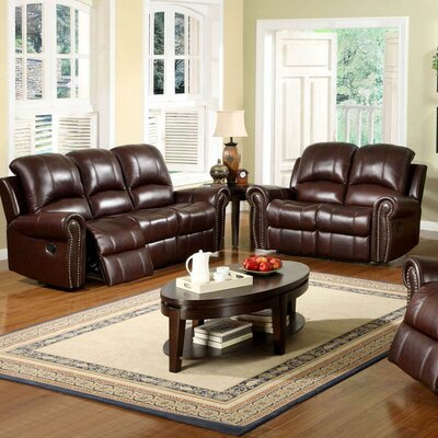 Abbyson Living Sedona Reclining Italian Leather Sofa and Loveseat Set in Two Tone Burgundy