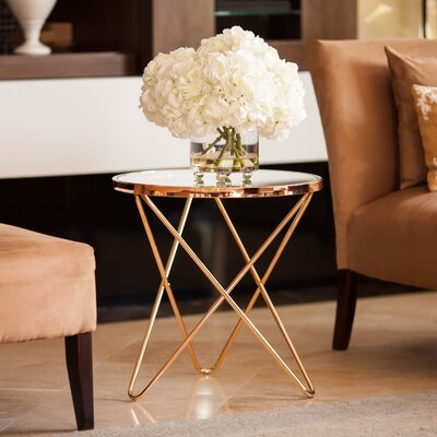 Bungalow Rose Atlanta Clear Glass Top Round End Table