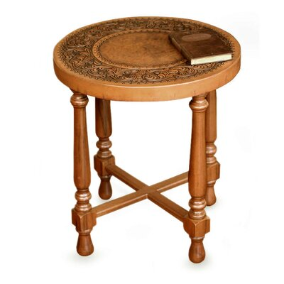 Novica Colonial Light Mohena Wood and Leather End Table