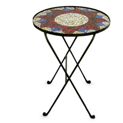 Novica Evening Sunflower Stained Glass End Table