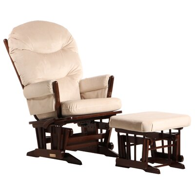 Dutailier Ultramotion Multi-Position Recline Two Post Glider with Plush Cushion and Nursing Ottoman