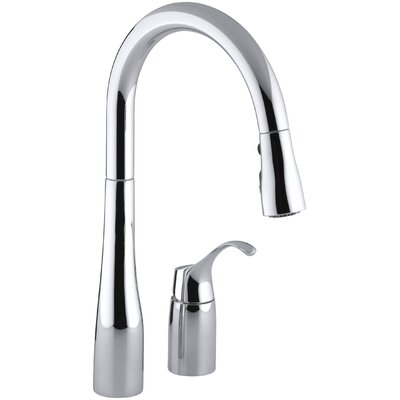 Kohler Simplice Two Hole Kitchen Sink Faucet With 16 1 8 Pull Down Swing Spout Docknetik