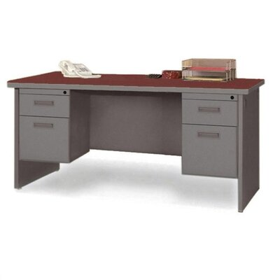 Lorell Durable Desk Ensembles Computer Desk with Double Pedestal