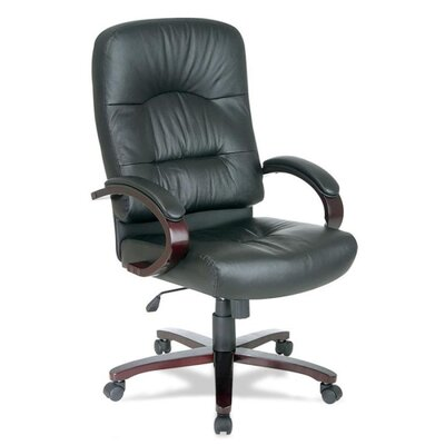 Lorell High-Back Woodbridge Series Leather Executive Chair