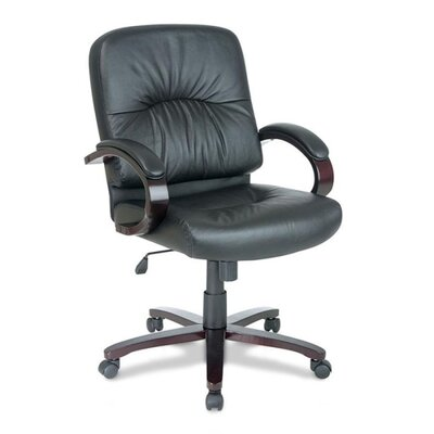Lorell Mid-Back Woodbridge Series Leather Conference Chair