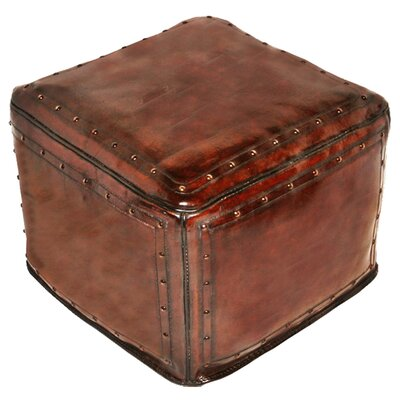 New World Trading Leather Ottoman