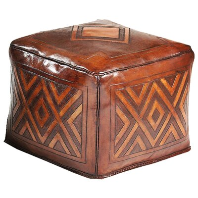 New World Trading Diamond Saddle Leather Ottoman