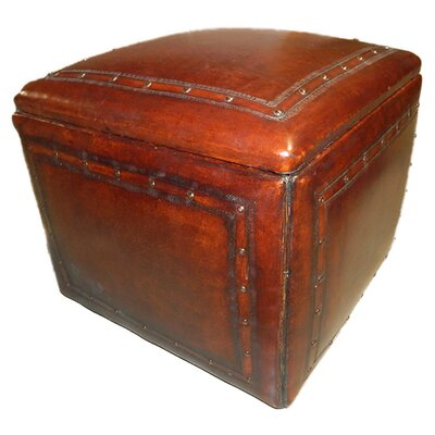 New World Trading Saddle Leather Ottoman Image
