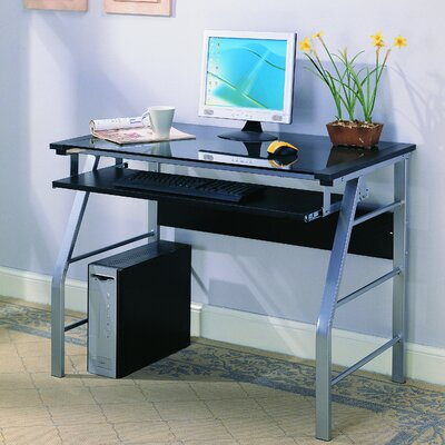 InRoom Designs Computer Desk with Tempered Glass