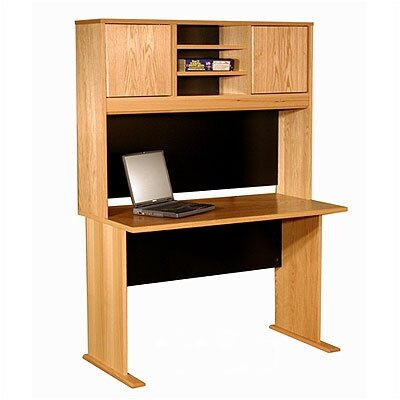 Rush Furniture Modular Real Oak Wood Veneer Standard Desk Shell with Hutch