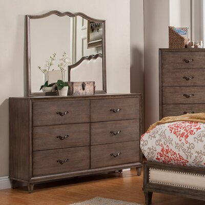 Alpine Furniture Charleston 6 Drawer Dresser wit..